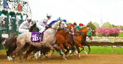 Racetrack Digital Art - Out The Gates by Alice Gipson