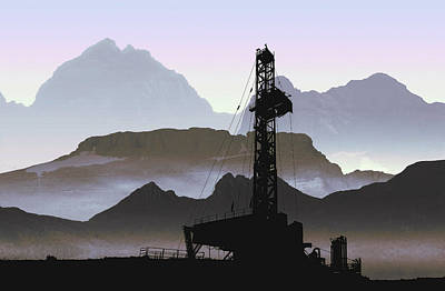 Oil Pumper Digital Art - Out There Drilling by Daniel Hagerman