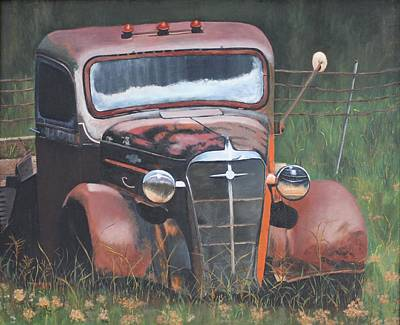International Harvester Truck Painting - Out To Pasture by Sylvian Parkison