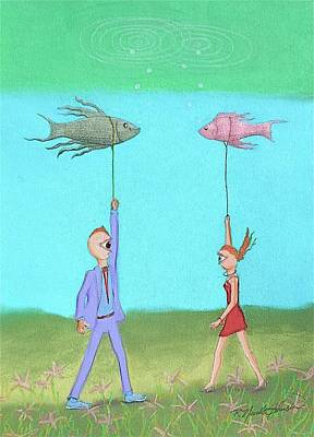 Out Walking My Fish Art Print
