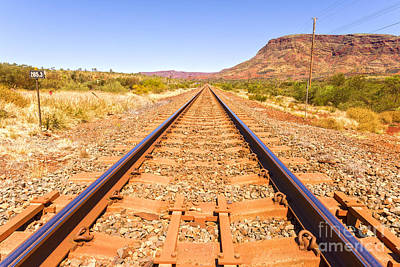 Great Outdoors Photograph - Outback Railway Track And Mount Nameless by Colin and Linda McKie