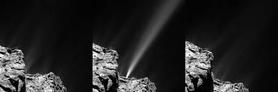 Trio Photograph - Outburst From Comet Churyumov-gerasimenko by European Space Agency/rosetta/mps For Osiris Team Mps/upd/lam/iaa/sso/inta/upm/dasp/ida