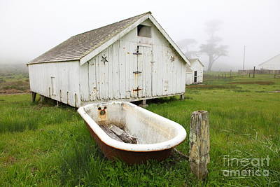 Outdoor Bath At The Old Pierce Point Ranch In Foggy Point Reyes California 5d28136 Art Print
