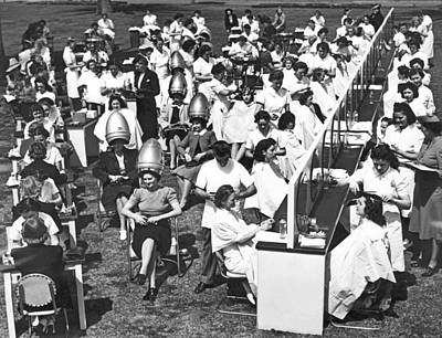 Photograph - Outdoor Beauty Salon Test by Underwood Archives