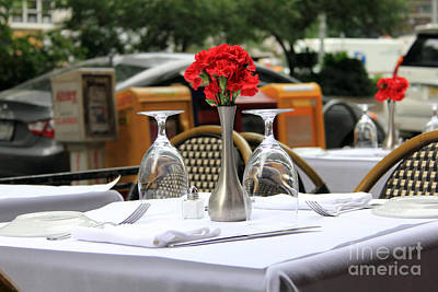 Photograph - Outdoor Cafe Table by Mary Haber