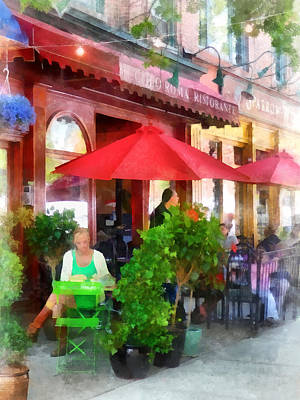 Plants Photograph - Outdoor Cafe With Red Umbrellas by Susan Savad