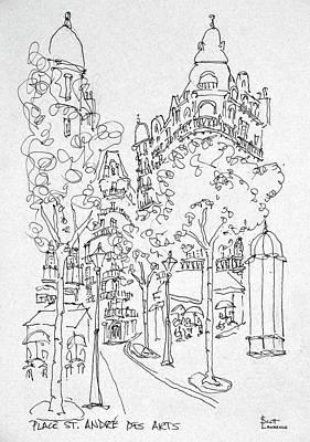 Outdoor Cafes Along Place St Art Print
