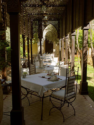 Marrakesh Photograph - Outdoor Dining Area, Villa Des Orangers by Panoramic Images