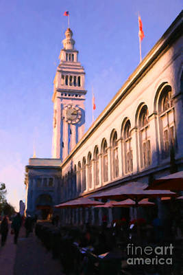 Outdoor Dining At San Francisco's Ferry Building At The Embarcadero - 5d20837 Art Print by Wingsdomain Art and Photography