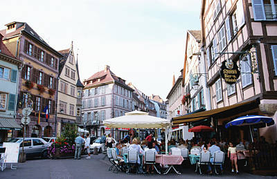 Colmar France Wall Art - Photograph - Outdoor Dining On The Street Under by Greg Elms