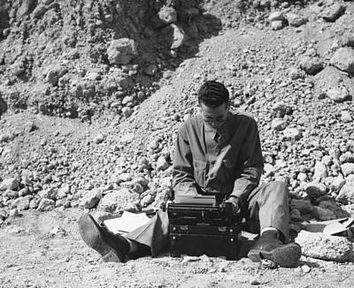 Typewriter Photograph - Outdoor Journalism by Underwood Archives