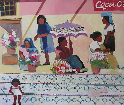Art Print featuring the painting Outdoor Market San Miguel Allende by Linda Novick