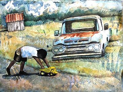 Outdoor Play'n Trucks Art Print by Ron Carson