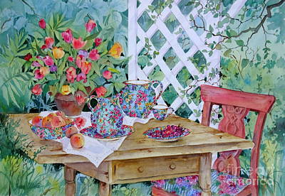 Tea Service Painting - Outdoor Tea by Sherri Crabtree