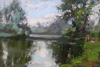 Rivers In The Fall Painting - Outdoors At Hyde Park by Ylli Haruni