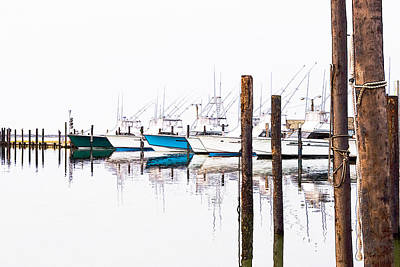 Abstract Seascape Digital Art - Outer Banks Fishing Boats Sketch #1 by Dan Carmichael