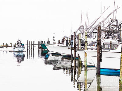 Abstract Seascape Digital Art - Outer Banks Fishing Boats Sketch #2 by Dan Carmichael