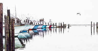 Oregon Inlet Photograph - Outer Banks Fishing Boats Sketch #4 by Dan Carmichael