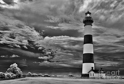 outer Banks - Stormy Day at Bodie Lighthouse BW Art Print