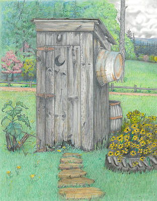 Farm Scenes Drawing - Outhouse by David Gallagher
