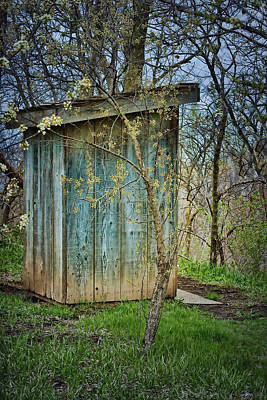 Old Wood Outhouse Photograph - Outhouse In Spring by Nikolyn McDonald