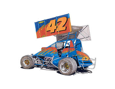 Outlaw Drawing - Dirt Track Racing Outlaw 42 by Jack Pumphrey