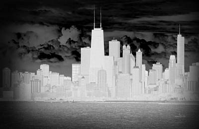 Photograph - Outline Of Chicago by Milena Ilieva