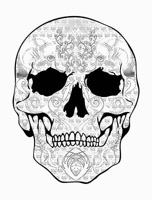 Outline Skull Art Print by Mauro Celotti