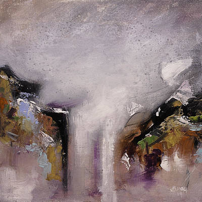 Surrealism Royalty-Free and Rights-Managed Images - OUTPOUR Modern Contemporary Abstract Original Painting on Canvas by Gray  Artus