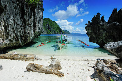 Filipino Photograph - Outrigger Boat On A Little White Beach by Michael Runkel