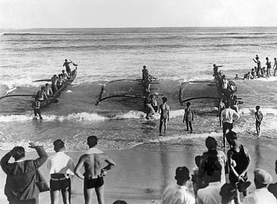 Photograph - Outrigger Canoe Championship by Underwood Archives
