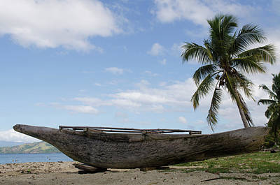 Canoe Photograph - Outrigger Fishing Canoe, Kioa Island by Pete Oxford