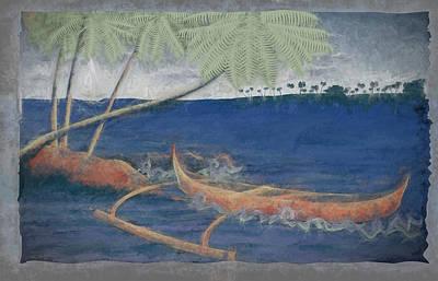 Canoe Digital Art - Outrigger In Storm by Andrea Ribeiro