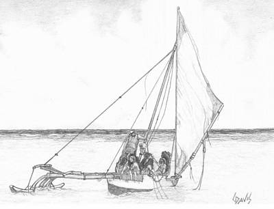 Outrigger Drawing - Outrigger by Lew Davis