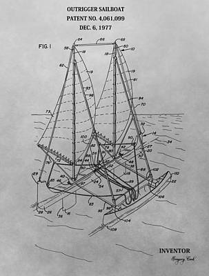 Outrigger Drawing - Outrigger Sailboat Patent Drawing by Dan Sproul