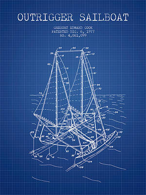 Transportation Digital Art - Outrigger Sailboat patent from 1977 - Blueprint by Aged Pixel