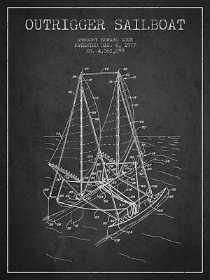 Transportation Digital Art - Outrigger Sailboat patent from 1977 - Dark by Aged Pixel