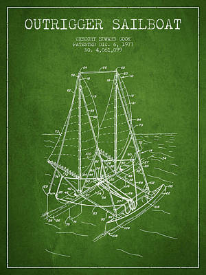 Transportation Digital Art - Outrigger Sailboat patent from 1977 - Green by Aged Pixel
