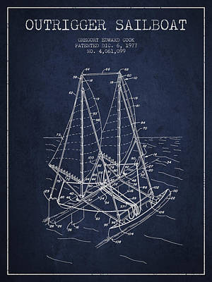Sailboat Art Drawing - Outrigger Sailboat Patent From 1977 - Navy Blue by Aged Pixel
