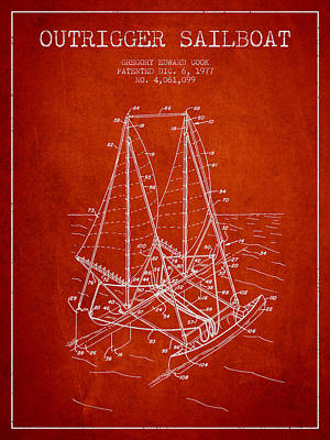 Transportation Digital Art - Outrigger Sailboat patent from 1977 - Red by Aged Pixel