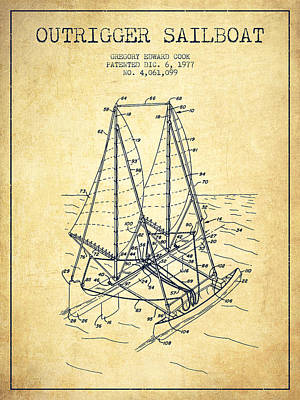 Transportation Digital Art - Outrigger Sailboat patent from 1977 - Vintage by Aged Pixel