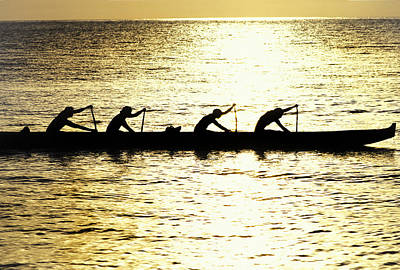 Canoe Photograph - Outrigger Silhouettes by Sean Davey