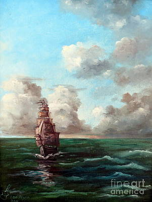 Art Print featuring the painting Outrunning The Storm by Lee Piper
