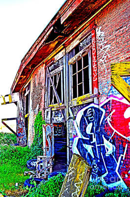 Photograph - Outside An Entrance To The Old Train Roundhouse At Bayshore Near San Francisco Altered  by Jim Fitzpatrick