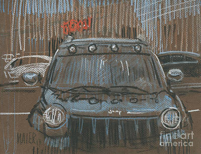 Jeep Drawing - Outside Biglots by Donald Maier