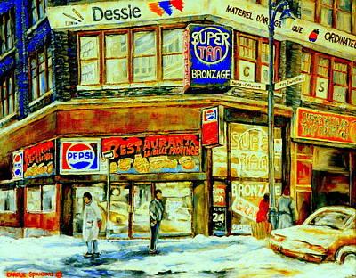 Outside La Belle Province Hamburger Pizza Deli  Cold Winter Walk Rue St. Catherine Montreal Scene  Art Print by Carole Spandau