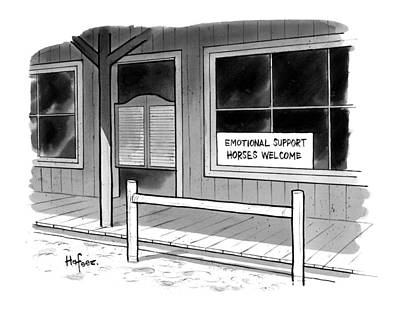Support Drawing - Outside Of A Western Bar by Kaamran Hafeez