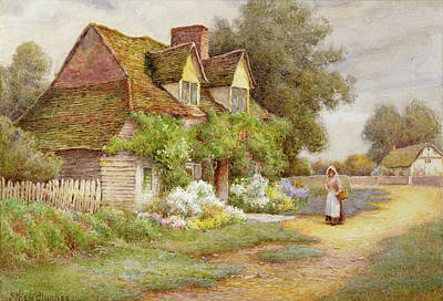 Outside The Cottage  Art Print by Ethel Hughes