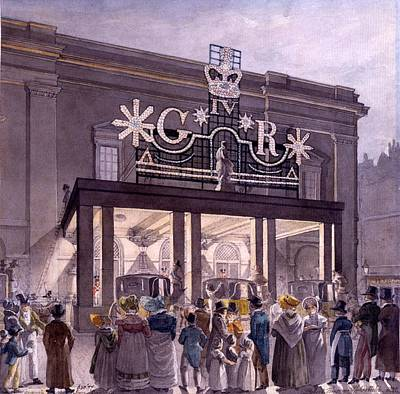 Theatre Drawing - Outside The Theatre Royal, Drury Lane by Robert Blemell Schnebbelie