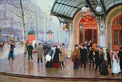 Crowd Scene Painting - Outside The Vaudeville Theatre by Jean Beraud